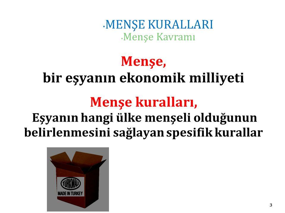 3 MENŞE KURALLARI Menşe Kavramı Menşe, bir eşyanın ekonomik milliyeti Menşe kuralları, Eşyanın hangi ülke menşeli olduğunun belirlenmesini sağlayan spesifik kurallar