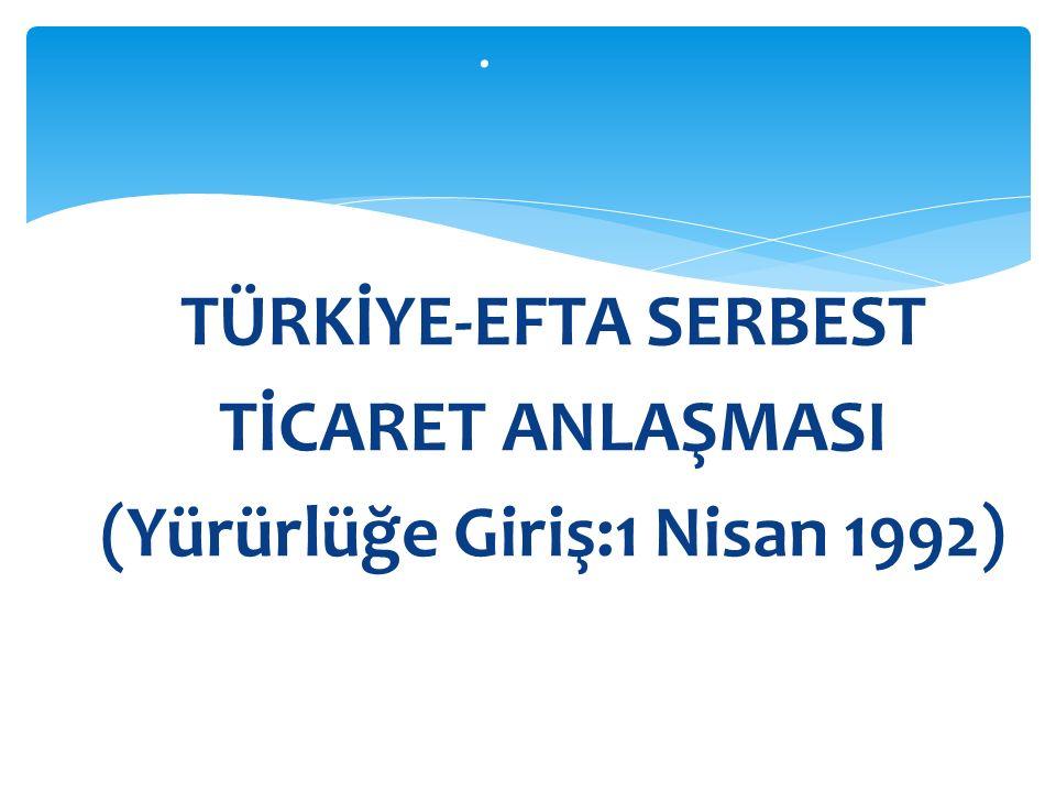 TÜRKİYE-EFTA SERBEST TİCARET ANLAŞMASI (Yürürlüğe Giriş:1 Nisan 1992).