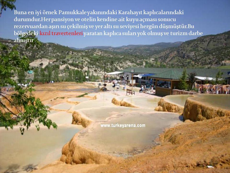Buna en iyi örnek Pamukkale yakınındaki Karahayıt kaplıcalarındaki durumdur.Her pansiyon ve otelin kendine ait kuyu açması sonucu rezervuardan aşırı s