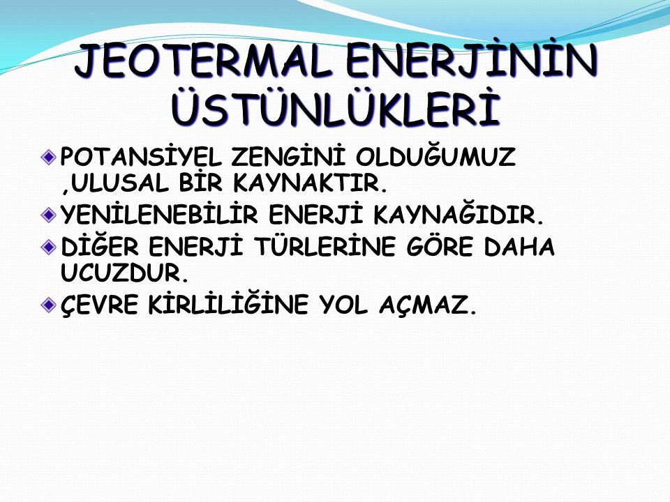 JEOTERMAL ENERJİNİN FAYDALARI 1) Temiz ve Güvenli bir enerji kaynağıdır.