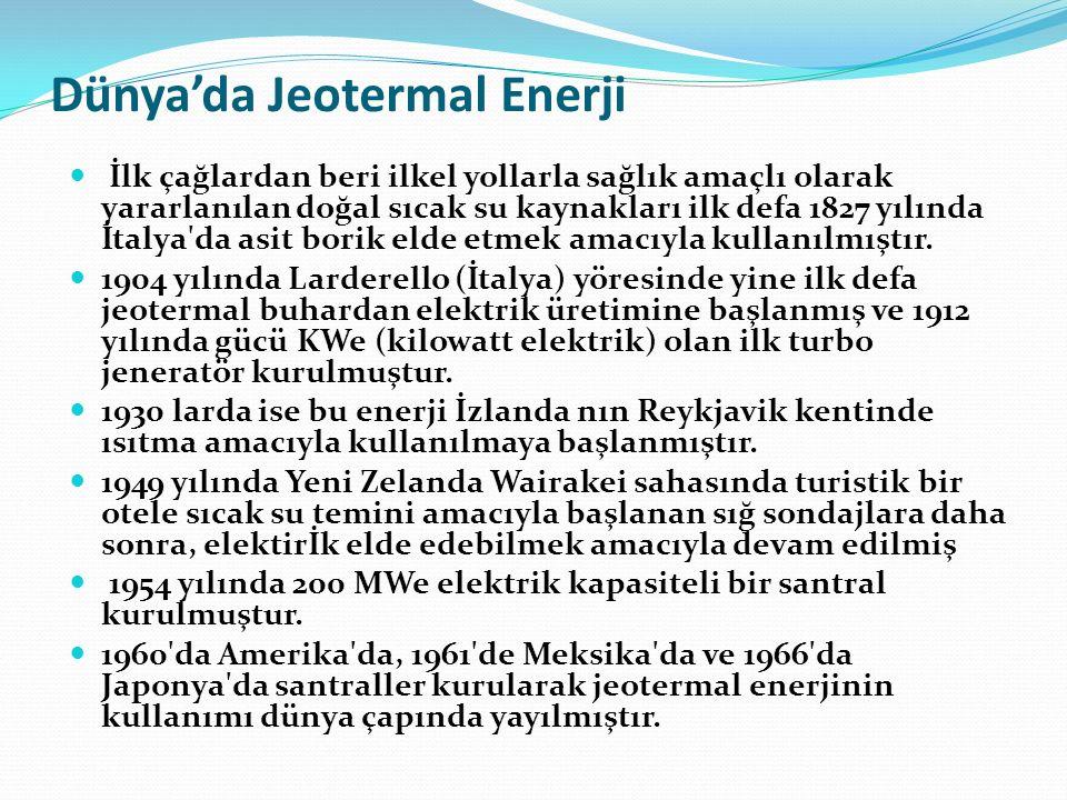 Dünya çapında, 2010 yılı itibariyle jeotermal elektrik santrali kurulu kapasitesi (10,7GW) (Bertani, 2010).