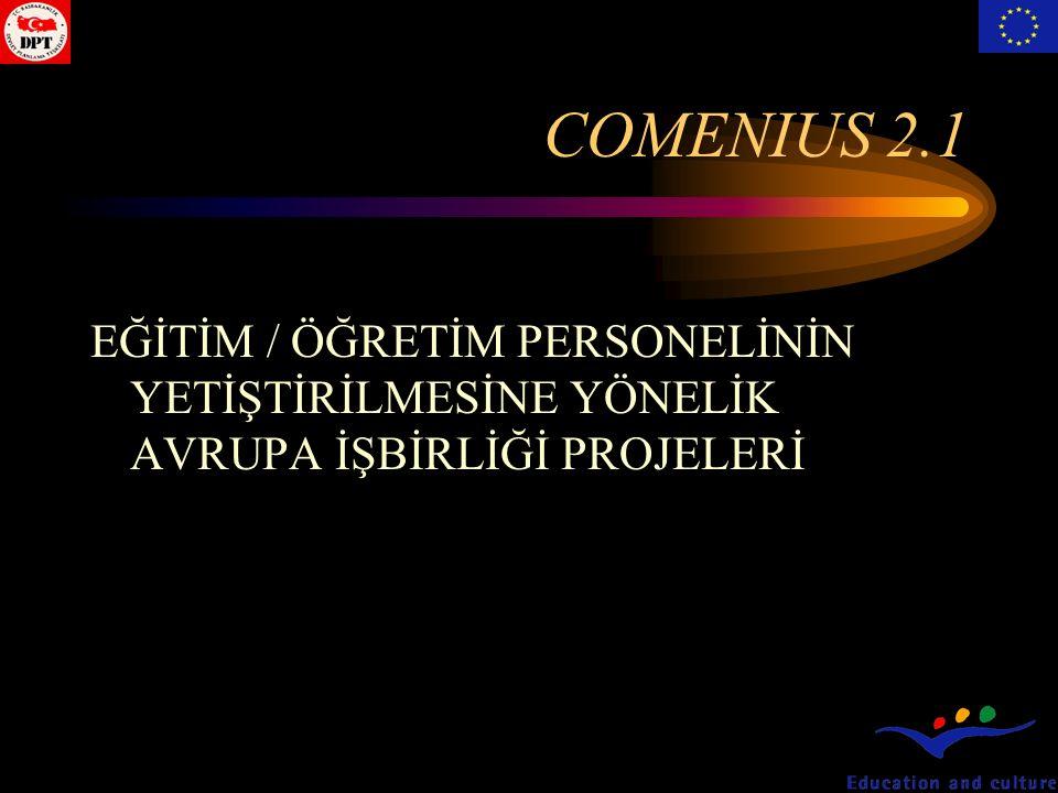 COMENIUS 2.1 EĞİTİM / ÖĞRETİM PERSONELİNİN YETİŞTİRİLMESİNE YÖNELİK AVRUPA İŞBİRLİĞİ PROJELERİ