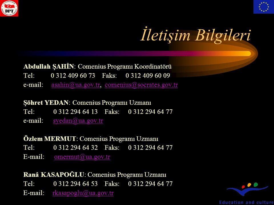 İletişim Bilgileri Abdullah ŞAHİN: Comenius Programı Koordinatörü Tel:0 312 409 60 73 Faks: 0 312 409 60 09 e-mail: asahin@ua.gov.tr, comenius@socrates.gov.trasahin@ua.gov.trcomenius@socrates.gov.tr Şöhret YEDAN: Comenius Programı Uzmanı Tel: 0 312 294 64 13 Faks: 0 312 294 64 77 e-mail: syedan@ua.gov.trsyedan@ua.gov.tr Özlem MERMUT: Comenius Programı Uzmanı Tel: 0 312 294 64 32 Faks: 0 312 294 64 77 E-mail: omermut@ua.gov.tromermut@ua.gov.tr Ranâ KASAPOĞLU: Comenius Programı Uzmanı Tel: 0 312 294 64 53 Faks: 0 312 294 64 77 E-mail: rkasapoglu@ua.gov.trrkasapoglu@ua.gov.tr