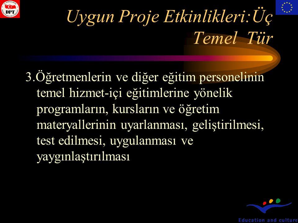 Uygun Proje Etkinlikleri:Üç Temel Tür 3.Öğretmenlerin ve diğer eğitim personelinin temel hizmet-içi eğitimlerine yönelik programların, kursların ve öğretim materyallerinin uyarlanması, geliştirilmesi, test edilmesi, uygulanması ve yaygınlaştırılması