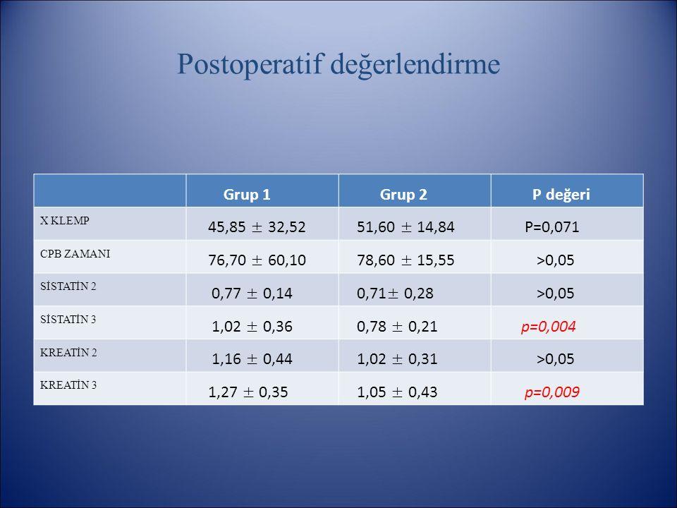 Postoperatif değerlendirme Grup 1 Grup 2 P değeri X KLEMP 45,85 ± 32,52 51,60 ± 14,84 P=0,071 CPB ZAMANI 76,70 ± 60,10 78,60 ± 15,55 >0,05 SİSTATİN 2