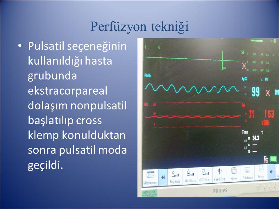 Perfüzyon tekniği Pulsatil seçeneğinin kullanıldığı hasta grubunda ekstracorpareal dolaşım nonpulsatil başlatılıp cross klemp konulduktan sonra pulsat