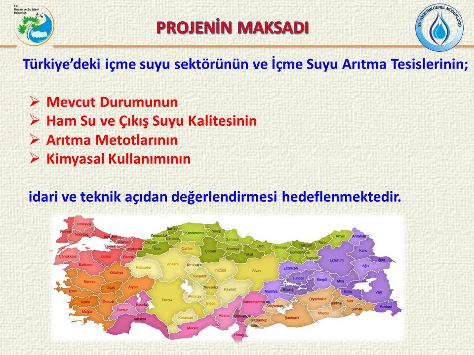 Türkiye'deki içme suyu sektörünün ve İçme Suyu Arıtma Tesislerinin;  Mevcut Durumunun  Ham Su ve Çıkış Suyu Kalitesinin  Arıtma Metotlarının  Kimyasal Kullanımının idari ve teknik açıdan değerlendirmesi hedeflenmektedir.