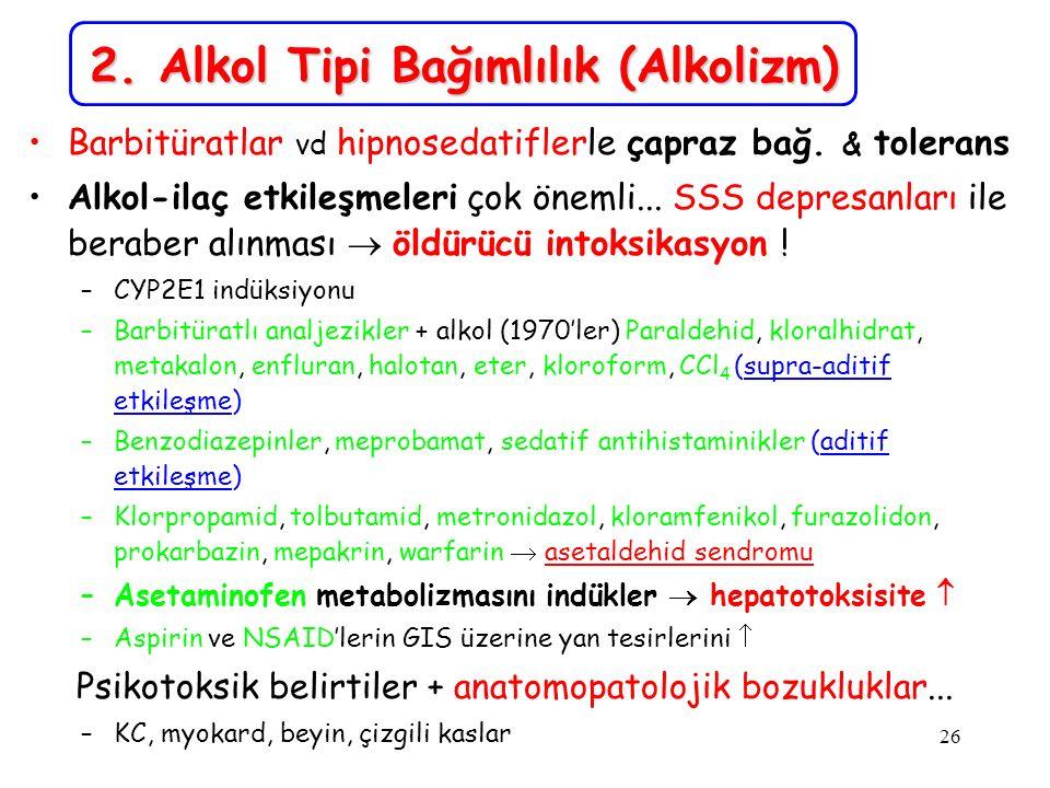 26 2. Alkol Tipi Bağımlılık (Alkolizm) Barbitüratlar vd hipnosedatiflerle çapraz bağ. & tolerans Alkol-ilaç etkileşmeleri çok önemli... SSS depresanla