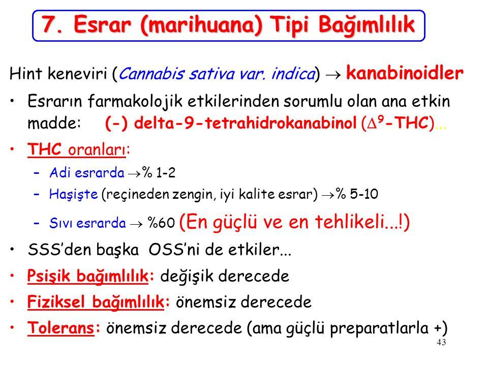 43 7. Esrar (marihuana) Tipi Bağımlılık Hint keneviri (Cannabis sativa var. indica)  kanabinoidler Esrarın farmakolojik etkilerinden sorumlu olan ana