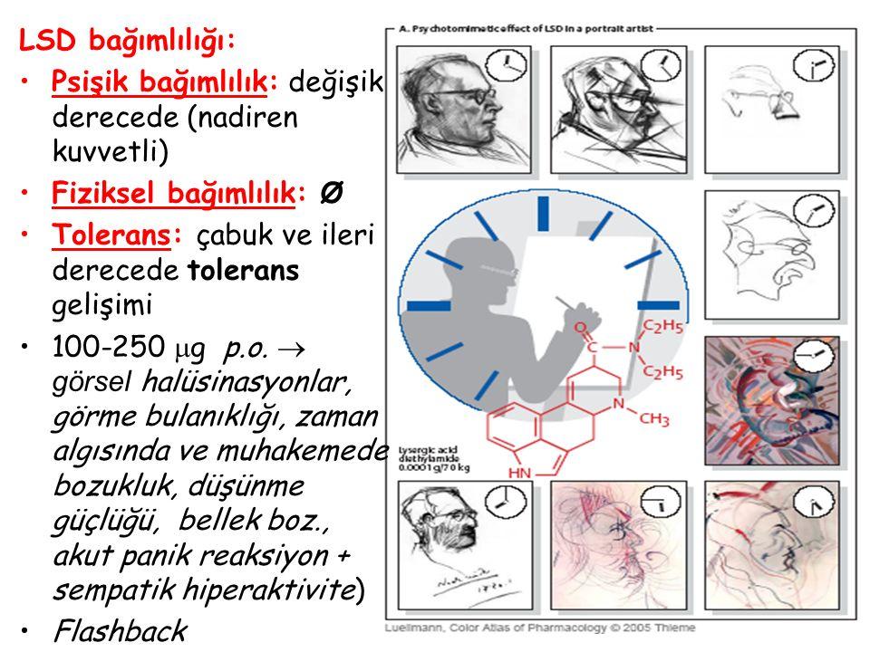 47 LSD bağımlılığı: Psişik bağımlılık: değişik derecede (nadiren kuvvetli) Fiziksel bağımlılık: Ø Tolerans: çabuk ve ileri derecede tolerans gelişimi