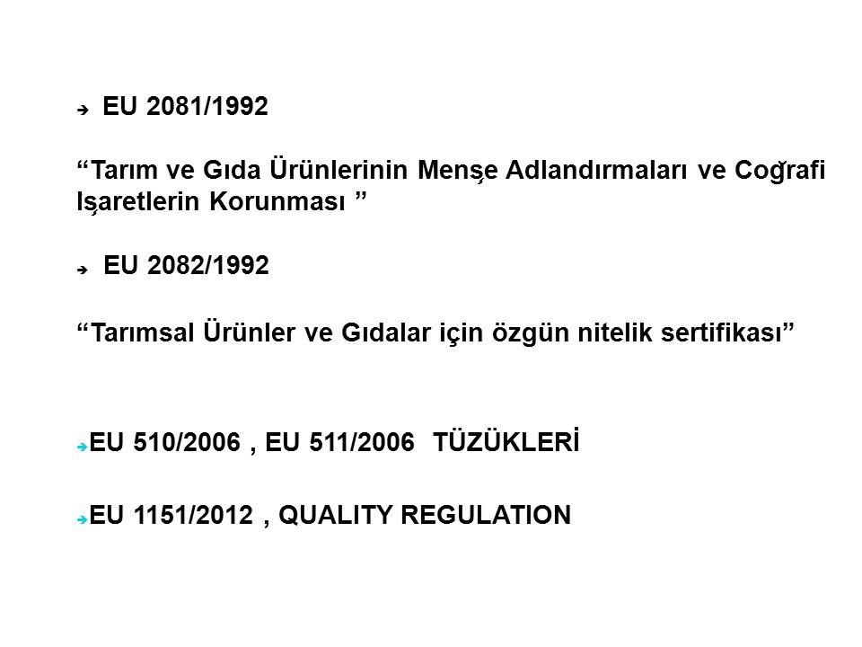  EU 2081/1992 Tarım ve Gıda Ürünlerinin Mens ̧ e Adlandırmaları ve Cog ̆ rafi I ̇ s ̧ aretlerin Korunması  EU 2082/1992 Tarımsal Ürünler ve Gıdalar için özgün nitelik sertifikası  EU 510/2006, EU 511/2006 TÜZÜKLERİ  EU 1151/2012, QUALITY REGULATION
