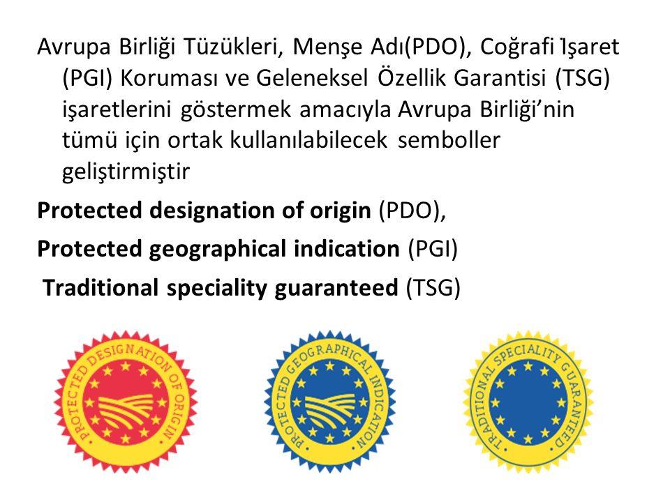 Avrupa Birliği Tüzükleri, Menşe Adı(PDO), Coğrafi İşaret (PGI) Koruması ve Geleneksel Özellik Garantisi (TSG) işaretlerini göstermek amacıyla Avrupa Birliği'nin tümü için ortak kullanılabilecek semboller geliştirmiştir Protected designation of origin (PDO), Protected geographical indication (PGI) Traditional speciality guaranteed (TSG)