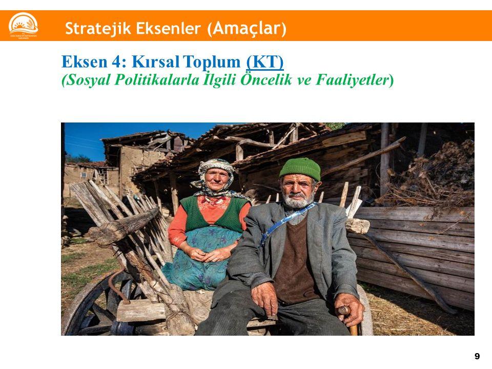 9 Stratejik Eksenler ( Amaçlar ) Eksen 4: Kırsal Toplum (KT) (Sosyal Politikalarla İlgili Öncelik ve Faaliyetler)