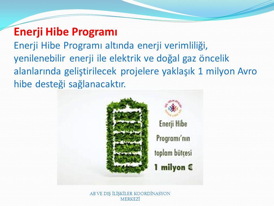 Enerji Hibe Programı Enerji Hibe Programı altında enerji verimliliği, yenilenebilir enerji ile elektrik ve doğal gaz öncelik alanlarında geliştirilecek projelere yaklaşık 1 milyon Avro hibe desteği sağlanacaktır.