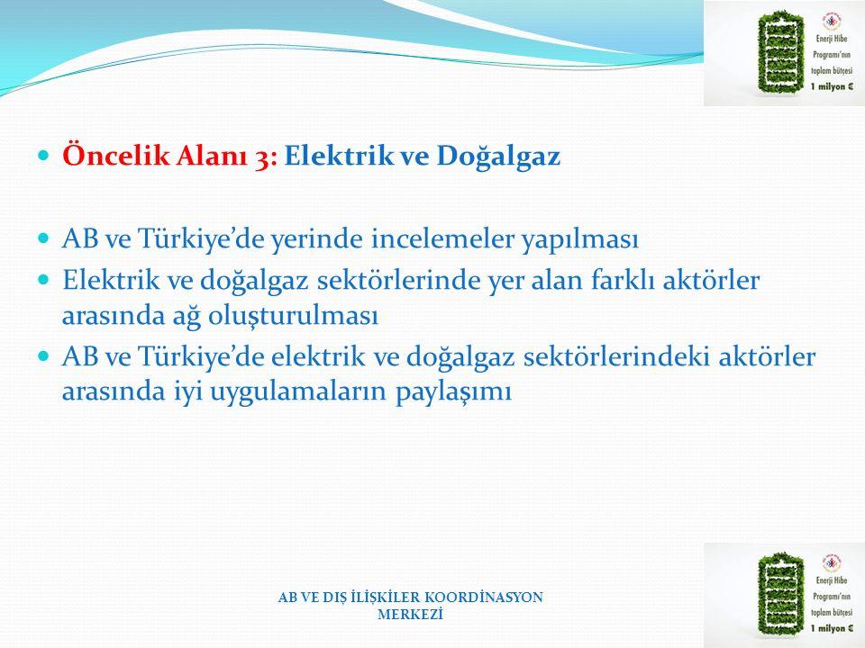 Öncelik Alanı 3: Elektrik ve Doğalgaz AB ve Türkiye'de yerinde incelemeler yapılması Elektrik ve doğalgaz sektörlerinde yer alan farklı aktörler arasında ağ oluşturulması AB ve Türkiye'de elektrik ve doğalgaz sektörlerindeki aktörler arasında iyi uygulamaların paylaşımı AB VE DIŞ İLİŞKİLER KOORDİNASYON MERKEZİ