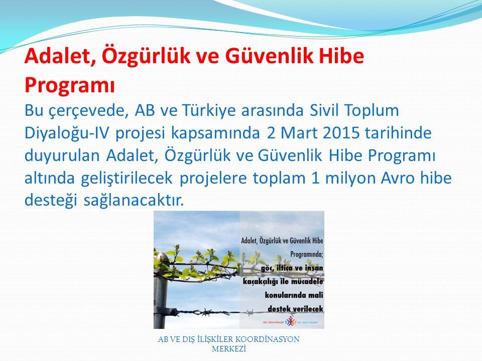 Adalet, Özgürlük ve Güvenlik Hibe Programı Bu çerçevede, AB ve Türkiye arasında Sivil Toplum Diyaloğu-IV projesi kapsamında 2 Mart 2015 tarihinde duyurulan Adalet, Özgürlük ve Güvenlik Hibe Programı altında geliştirilecek projelere toplam 1 milyon Avro hibe desteği sağlanacaktır.