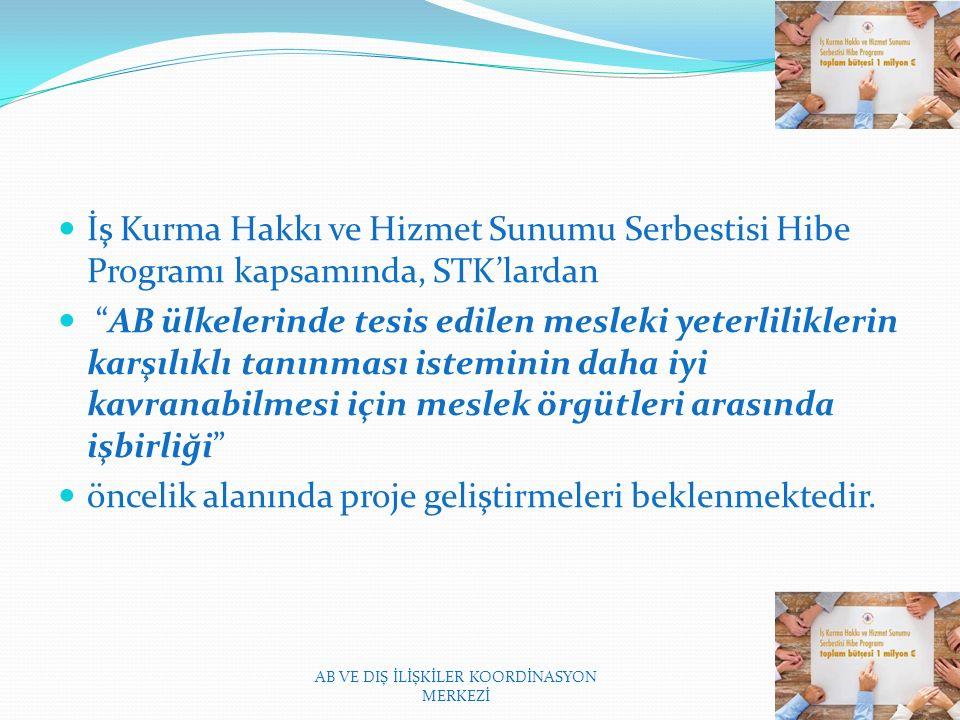 İş Kurma Hakkı ve Hizmet Sunumu Serbestisi Hibe Programı kapsamında, STK'lardan AB ülkelerinde tesis edilen mesleki yeterliliklerin karşılıklı tanınması isteminin daha iyi kavranabilmesi için meslek örgütleri arasında işbirliği öncelik alanında proje geliştirmeleri beklenmektedir.