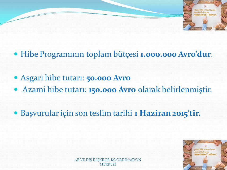 Hibe Programının toplam bütçesi 1.000.000 Avro'dur.
