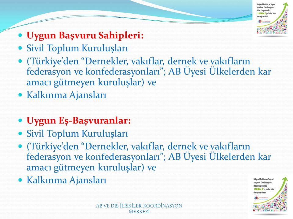 Uygun Başvuru Sahipleri: Sivil Toplum Kuruluşları (Türkiye'den Dernekler, vakıflar, dernek ve vakıfların federasyon ve konfederasyonları ; AB Üyesi Ülkelerden kar amacı gütmeyen kuruluşlar) ve Kalkınma Ajansları Uygun Eş-Başvuranlar: Sivil Toplum Kuruluşları (Türkiye'den Dernekler, vakıflar, dernek ve vakıfların federasyon ve konfederasyonları ; AB Üyesi Ülkelerden kar amacı gütmeyen kuruluşlar) ve Kalkınma Ajansları AB VE DIŞ İLİŞKİLER KOORDİNASYON MERKEZİ