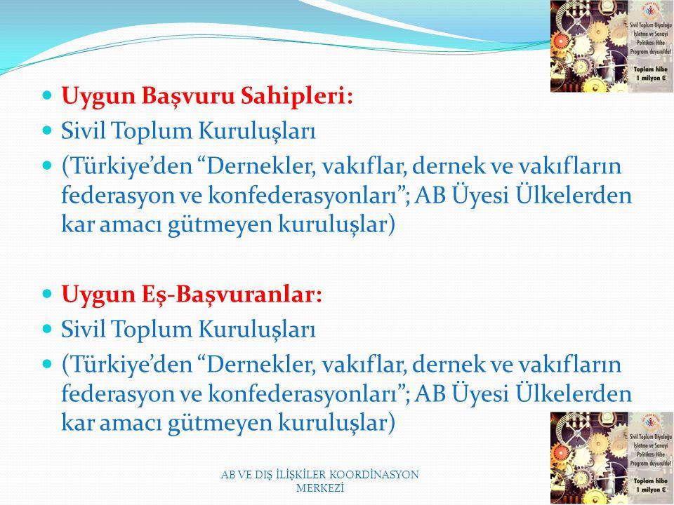 Uygun Başvuru Sahipleri: Sivil Toplum Kuruluşları (Türkiye'den Dernekler, vakıflar, dernek ve vakıfların federasyon ve konfederasyonları ; AB Üyesi Ülkelerden kar amacı gütmeyen kuruluşlar) Uygun Eş-Başvuranlar: Sivil Toplum Kuruluşları (Türkiye'den Dernekler, vakıflar, dernek ve vakıfların federasyon ve konfederasyonları ; AB Üyesi Ülkelerden kar amacı gütmeyen kuruluşlar) AB VE DIŞ İLİŞKİLER KOORDİNASYON MERKEZİ