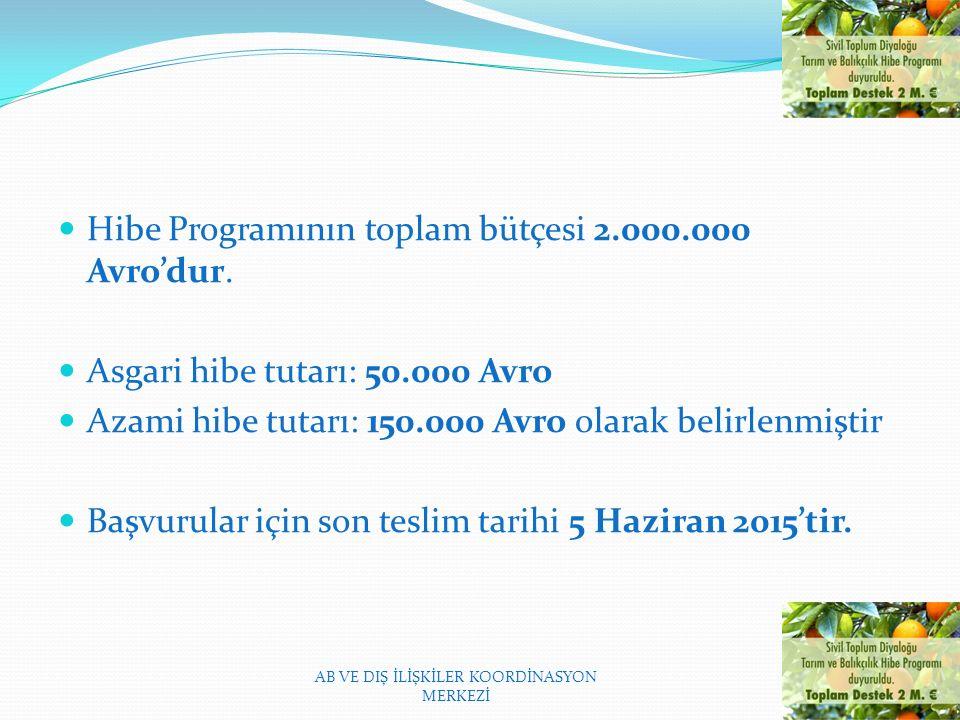 Hibe Programının toplam bütçesi 2.000.000 Avro'dur.