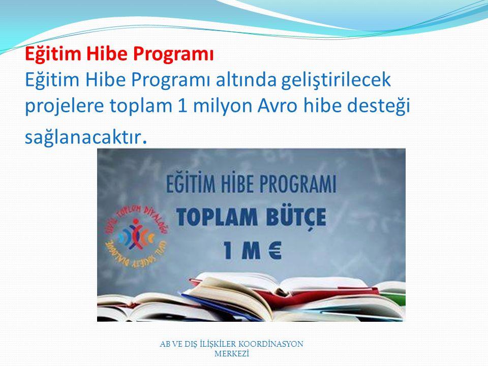 Eğitim Hibe Programı Eğitim Hibe Programı altında geliştirilecek projelere toplam 1 milyon Avro hibe desteği sağlanacaktır.