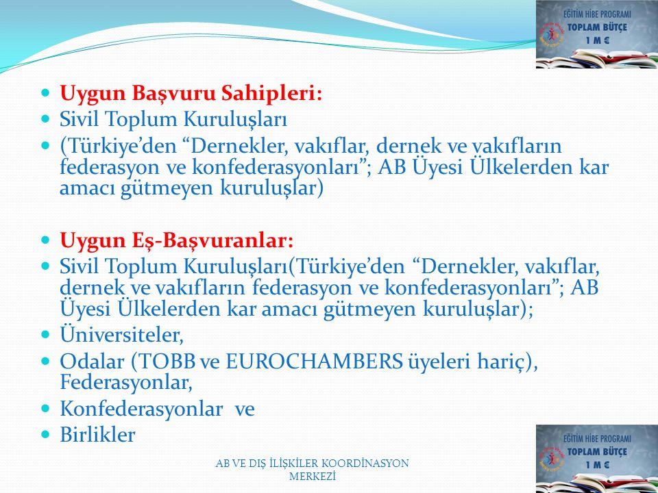 Uygun Başvuru Sahipleri: Sivil Toplum Kuruluşları (Türkiye'den Dernekler, vakıflar, dernek ve vakıfların federasyon ve konfederasyonları ; AB Üyesi Ülkelerden kar amacı gütmeyen kuruluşlar) Uygun Eş-Başvuranlar: Sivil Toplum Kuruluşları(Türkiye'den Dernekler, vakıflar, dernek ve vakıfların federasyon ve konfederasyonları ; AB Üyesi Ülkelerden kar amacı gütmeyen kuruluşlar); Üniversiteler, Odalar (TOBB ve EUROCHAMBERS üyeleri hariç), Federasyonlar, Konfederasyonlar ve Birlikler AB VE DIŞ İLİŞKİLER KOORDİNASYON MERKEZİ