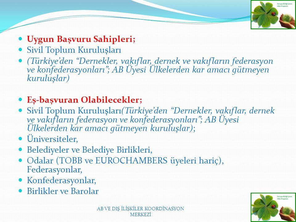 Uygun Başvuru Sahipleri; Sivil Toplum Kuruluşları (Türkiye'den Dernekler, vakıflar, dernek ve vakıfların federasyon ve konfederasyonları ; AB Üyesi Ülkelerden kar amacı gütmeyen kuruluşlar) Eş-başvuran Olabilecekler; Sivil Toplum Kuruluşları(Türkiye'den Dernekler, vakıflar, dernek ve vakıfların federasyon ve konfederasyonları ; AB Üyesi Ülkelerden kar amacı gütmeyen kuruluşlar); Üniversiteler, Belediyeler ve Belediye Birlikleri, Odalar (TOBB ve EUROCHAMBERS üyeleri hariç), Federasyonlar, Konfederasyonlar, Birlikler ve Barolar AB VE DIŞ İLİŞKİLER KOORDİNASYON MERKEZİ
