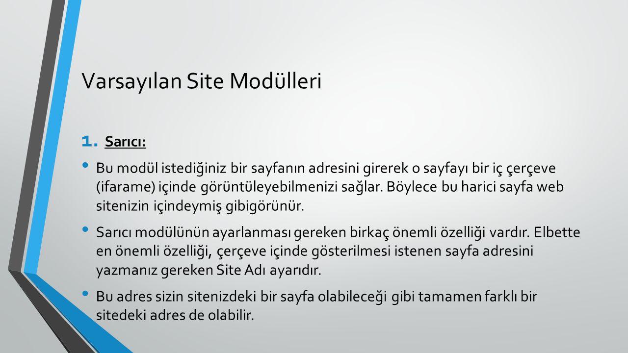Varsayılan Site Modülleri 1. Sarıcı: Bu modül istediğiniz bir sayfanın adresini girerek o sayfayı bir iç çerçeve (ifarame) içinde görüntüleyebilmenizi