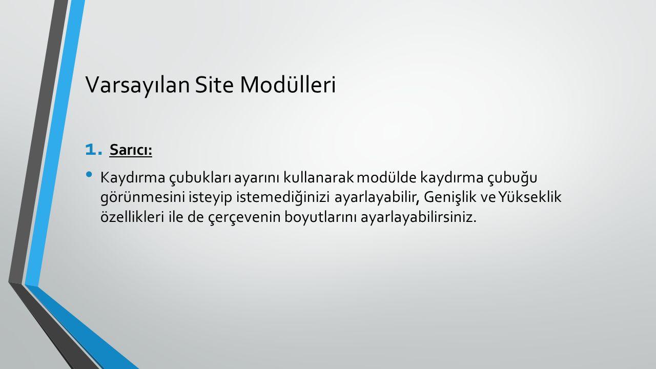 Varsayılan Site Modülleri 1. Sarıcı: Kaydırma çubukları ayarını kullanarak modülde kaydırma çubuğu görünmesini isteyip istemediğinizi ayarlayabilir, G
