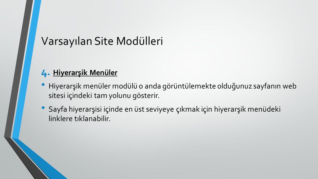 Varsayılan Site Modülleri 4. Hiyerarşik Menüler Hiyerarşik menüler modülü o anda görüntülemekte olduğunuz sayfanın web sitesi içindeki tam yolunu göst
