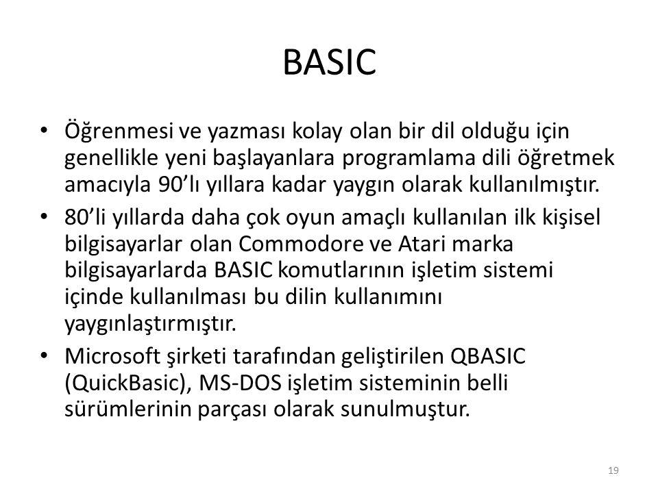 BASIC Öğrenmesi ve yazması kolay olan bir dil olduğu için genellikle yeni başlayanlara programlama dili öğretmek amacıyla 90'lı yıllara kadar yaygın o