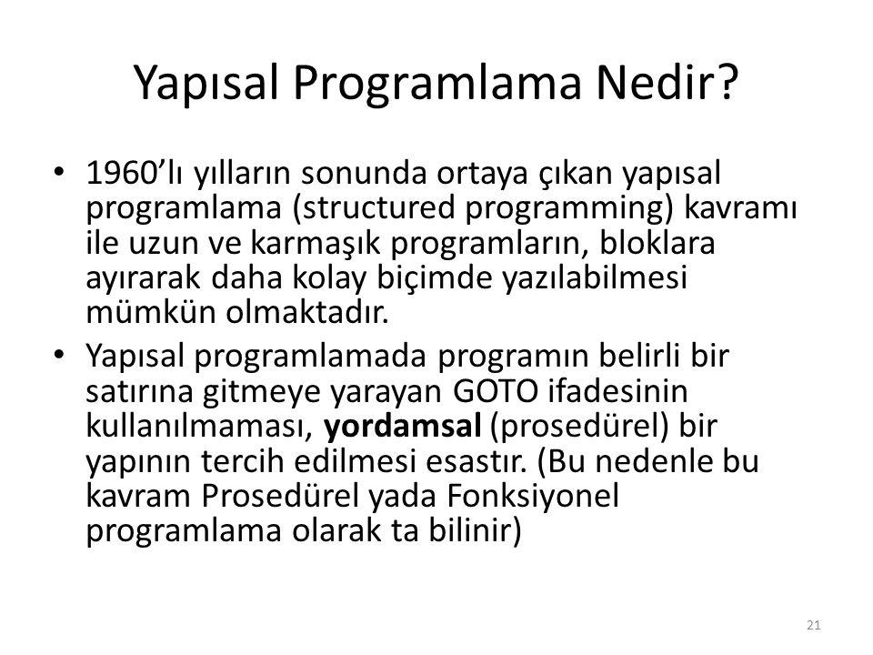 Yapısal Programlama Nedir? 1960'lı yılların sonunda ortaya çıkan yapısal programlama (structured programming) kavramı ile uzun ve karmaşık programları