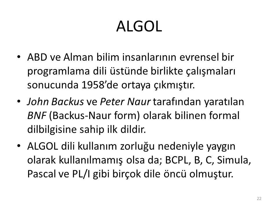 ALGOL ABD ve Alman bilim insanlarının evrensel bir programlama dili üstünde birlikte çalışmaları sonucunda 1958'de ortaya çıkmıştır. John Backus ve Pe