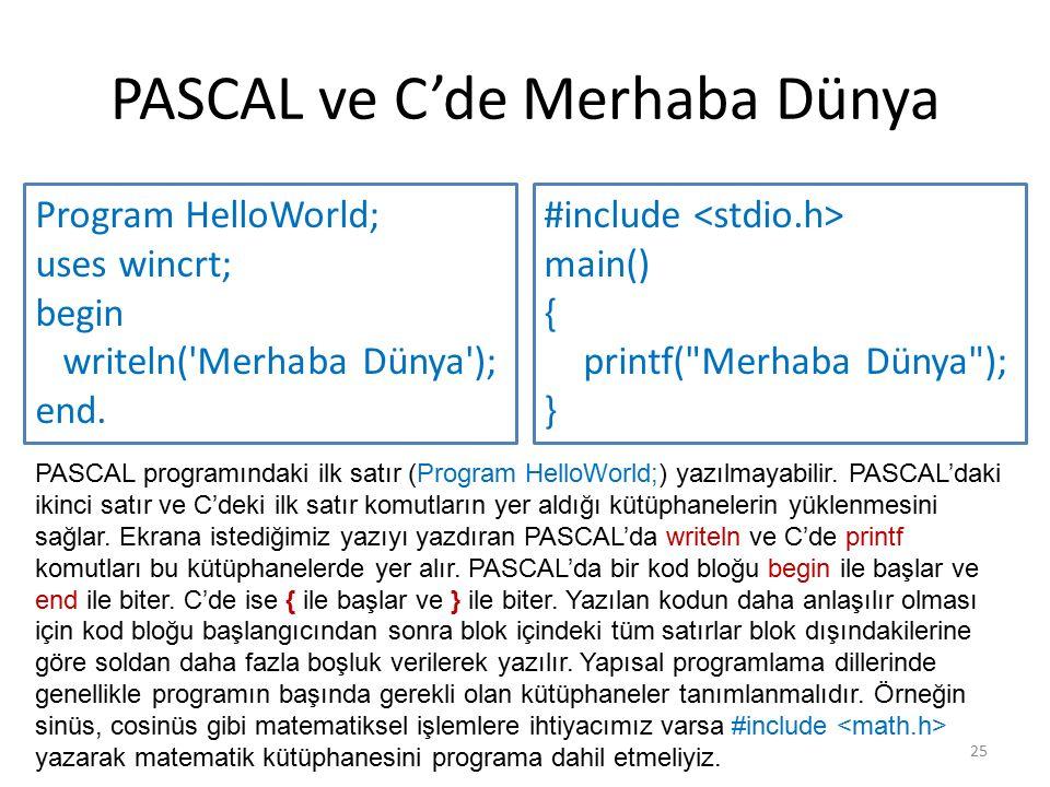 PASCAL ve C'de Merhaba Dünya Program HelloWorld; uses wincrt; begin writeln('Merhaba Dünya'); end. 25 #include main() { printf(