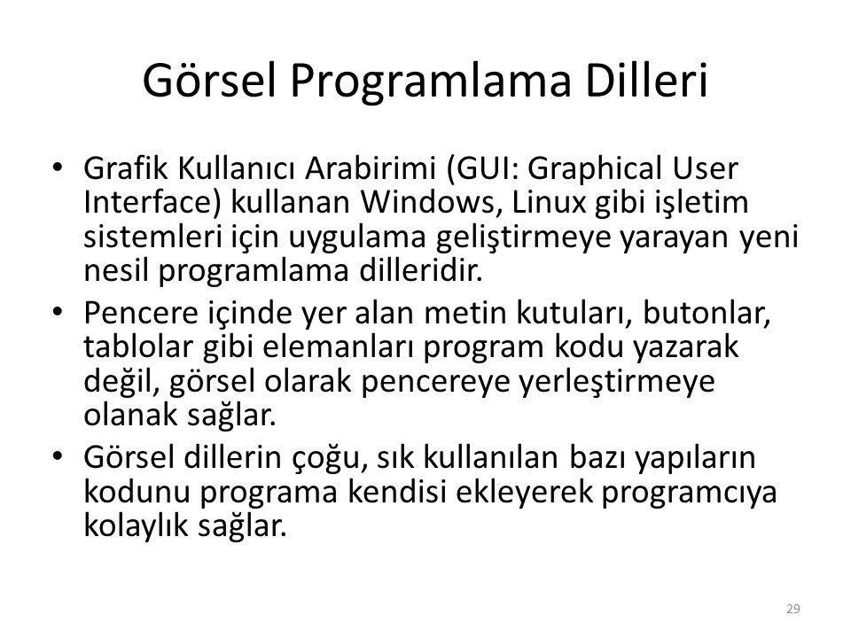 Görsel Programlama Dilleri Grafik Kullanıcı Arabirimi (GUI: Graphical User Interface) kullanan Windows, Linux gibi işletim sistemleri için uygulama ge