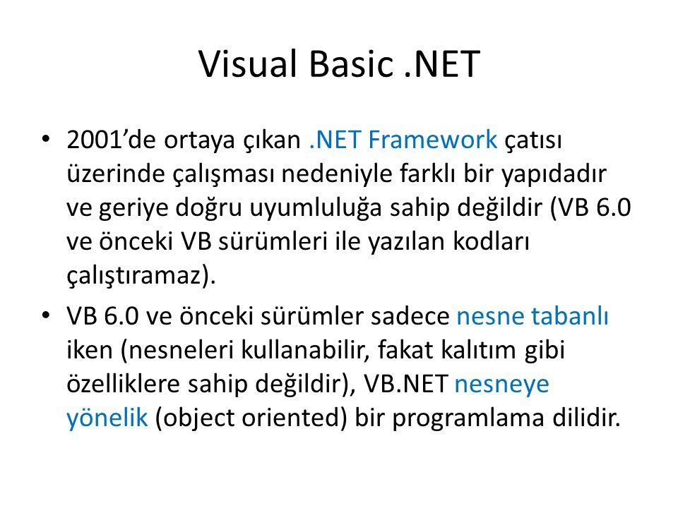 Visual Basic.NET 2001'de ortaya çıkan.NET Framework çatısı üzerinde çalışması nedeniyle farklı bir yapıdadır ve geriye doğru uyumluluğa sahip değildir