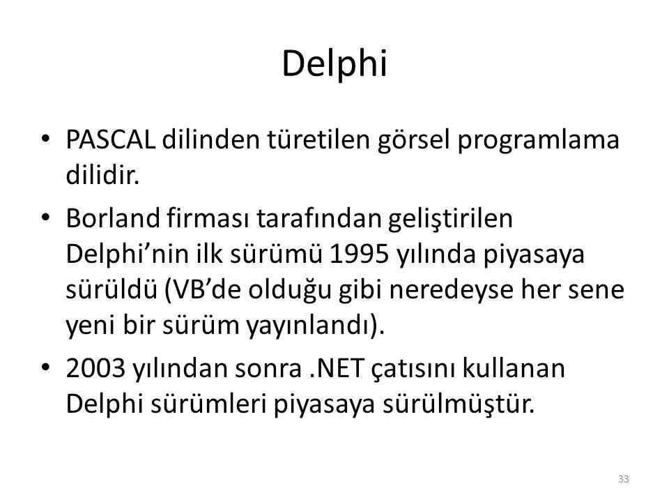 Delphi PASCAL dilinden türetilen görsel programlama dilidir. Borland firması tarafından geliştirilen Delphi'nin ilk sürümü 1995 yılında piyasaya sürül