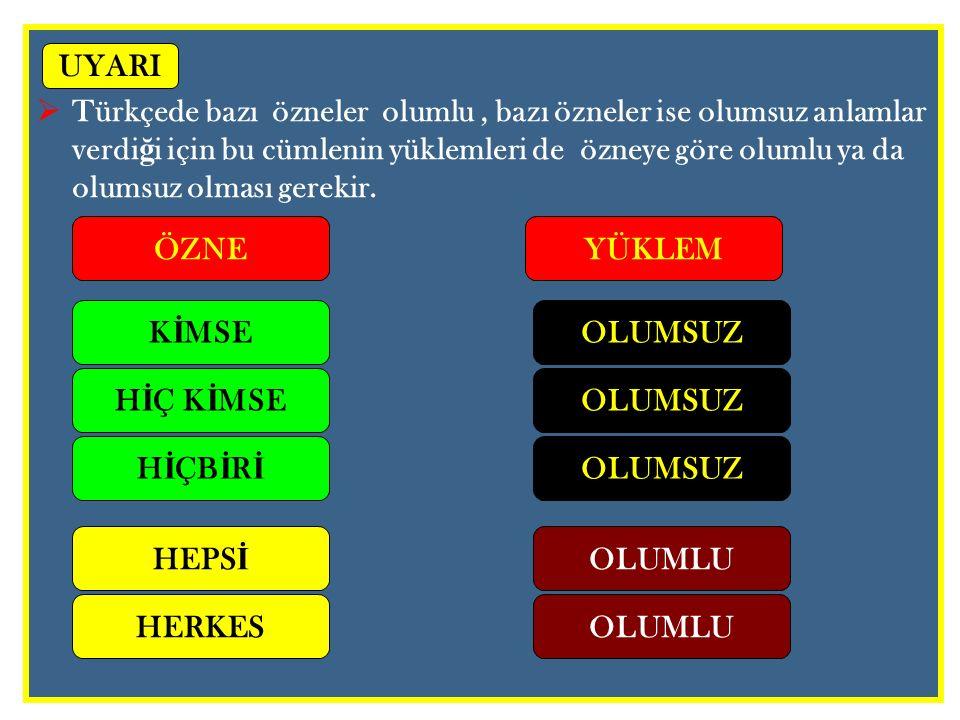  Türkçede bazı özneler olumlu, bazı özneler ise olumsuz anlamlar verdi ğ i için bu cümlenin yüklemleri de özneye göre olumlu ya da olumsuz olması ger