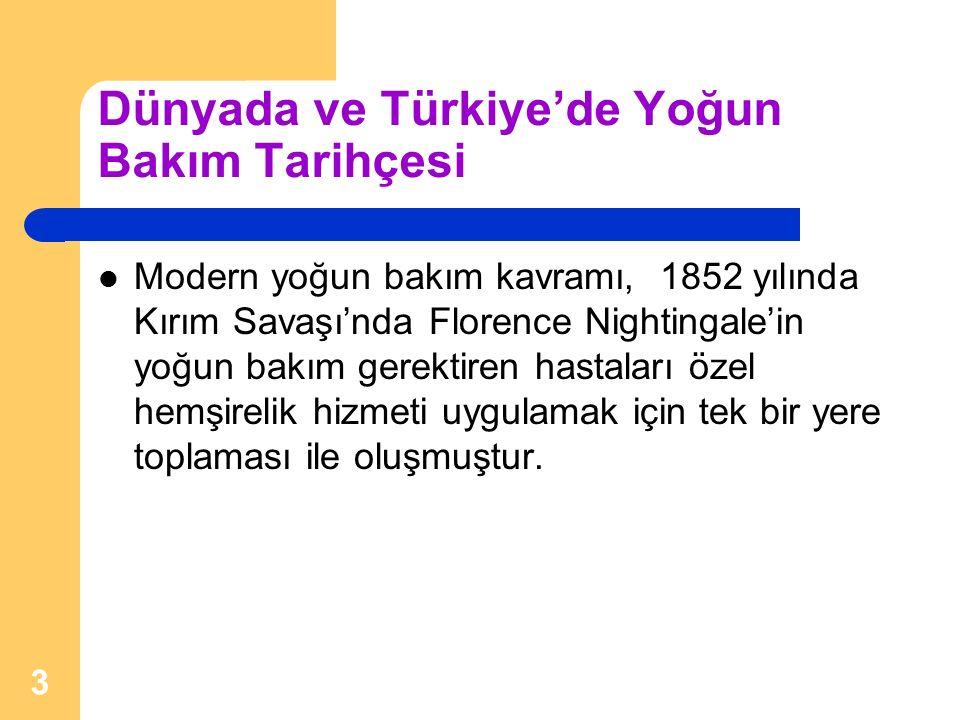 Dünyada ve Türkiye'de Yoğun Bakım Tarihçesi Modern yoğun bakım kavramı, 1852 yılında Kırım Savaşı'nda Florence Nightingale'in yoğun bakım gerektiren h