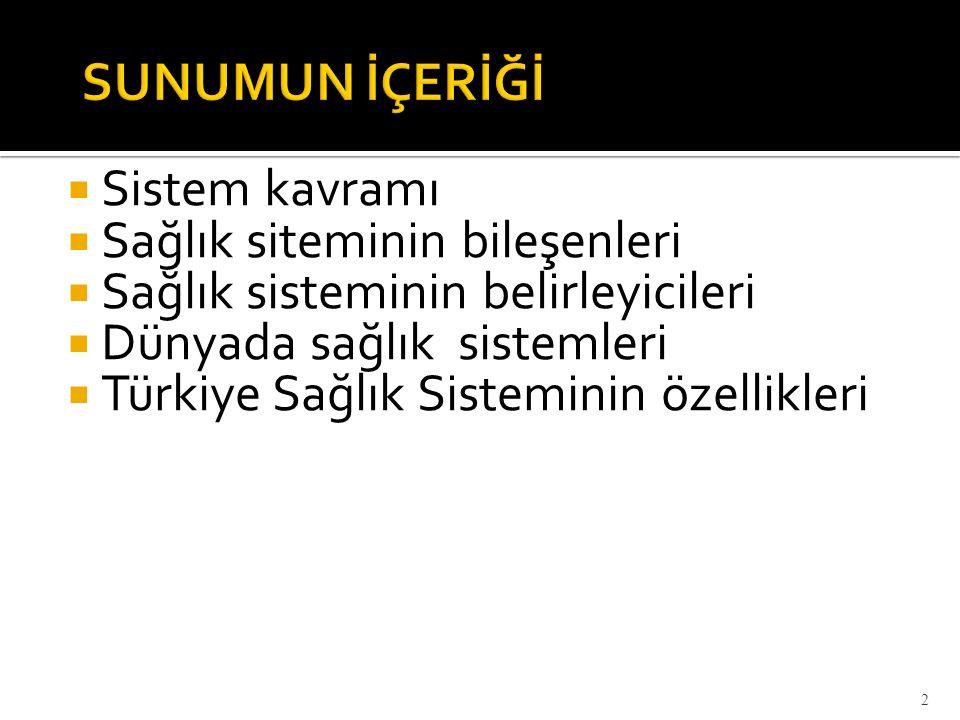  Sistem kavramı  Sağlık siteminin bileşenleri  Sağlık sisteminin belirleyicileri  Dünyada sağlık sistemleri  Türkiye Sağlık Sisteminin özellikler