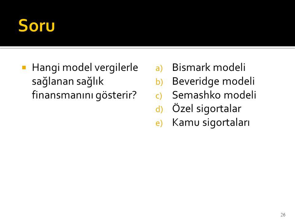  Hangi model vergilerle sağlanan sağlık finansmanını gösterir? a) Bismark modeli b) Beveridge modeli c) Semashko modeli d) Özel sigortalar e) Kamu si