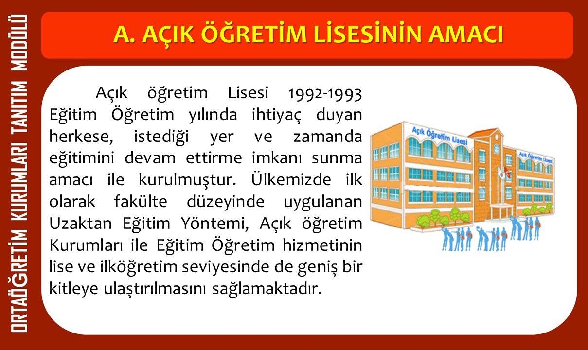 A. AÇIK ÖĞRETİM LİSESİNİN AMACI Açık öğretim Lisesi 1992-1993 Eğitim Öğretim yılında ihtiyaç duyan herkese, istediği yer ve zamanda eğitimini devam et