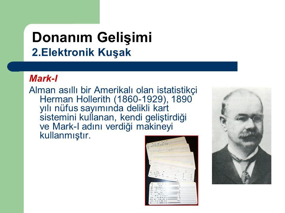 Mark-I Alman asıllı bir Amerikalı olan istatistikçi Herman Hollerith (1860-1929), 1890 yılı nüfus sayımında delikli kart sistemini kullanan, kendi gel