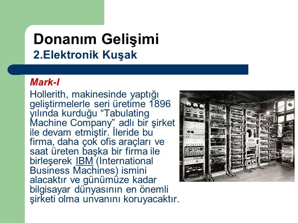 """Mark-I Hollerith, makinesinde yaptığı geliştirmelerle seri üretime 1896 yılında kurduğu """"Tabulating Machine Company"""" adlı bir şirket ile devam etmişti"""