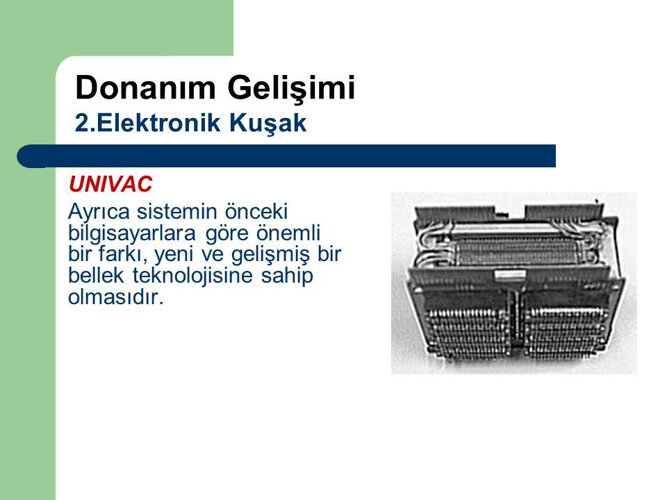 UNIVAC Ayrıca sistemin önceki bilgisayarlara göre önemli bir farkı, yeni ve gelişmiş bir bellek teknolojisine sahip olmasıdır. Donanım Gelişimi 2.Elek