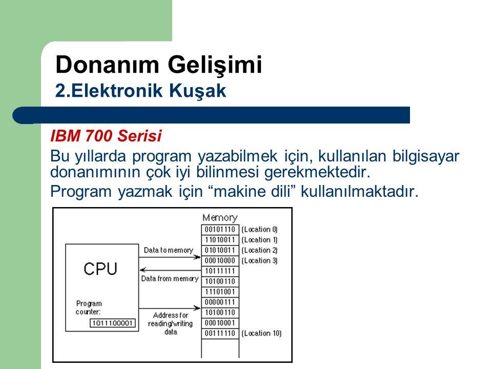 """IBM 700 Serisi Bu yıllarda program yazabilmek için, kullanılan bilgisayar donanımının çok iyi bilinmesi gerekmektedir. Program yazmak için """"makine dil"""