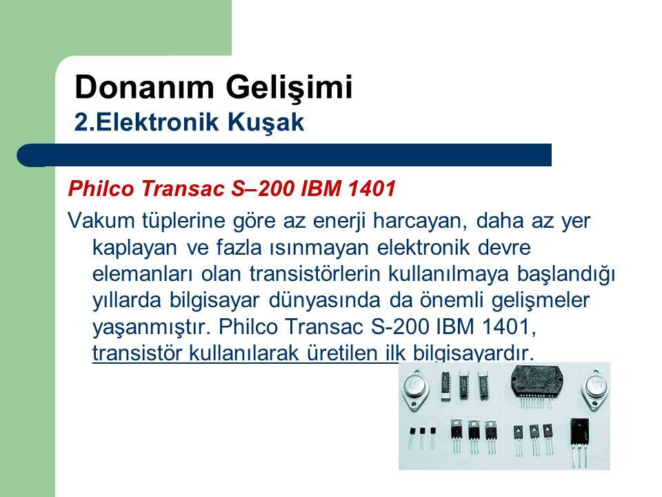 Philco Transac S–200 IBM 1401 Vakum tüplerine göre az enerji harcayan, daha az yer kaplayan ve fazla ısınmayan elektronik devre elemanları olan transi