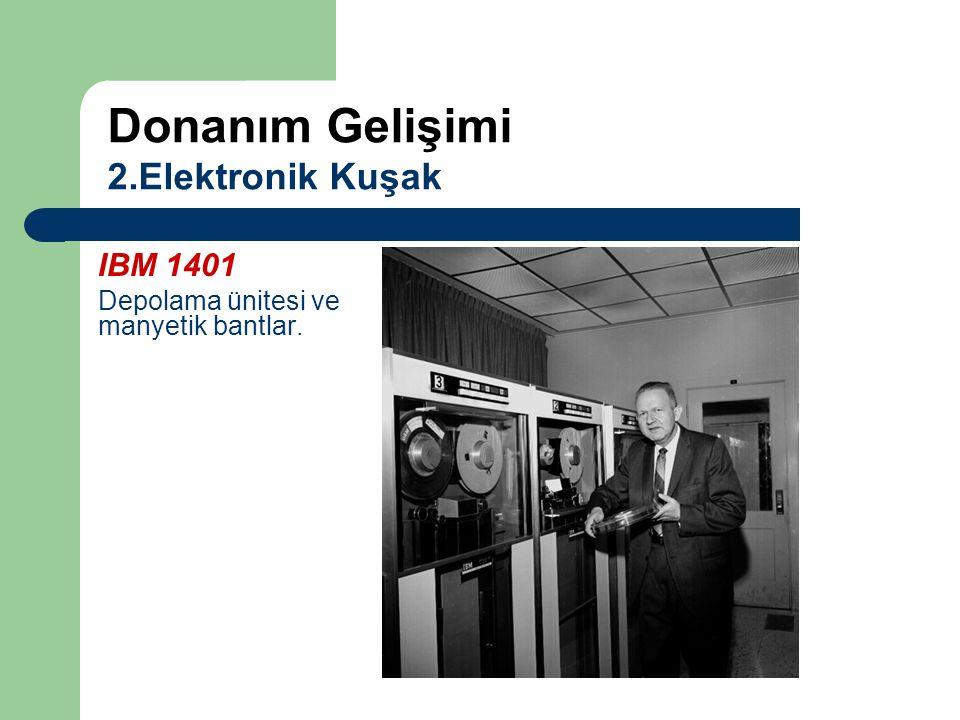 IBM 1401 Depolama ünitesi ve manyetik bantlar. Donanım Gelişimi 2.Elektronik Kuşak