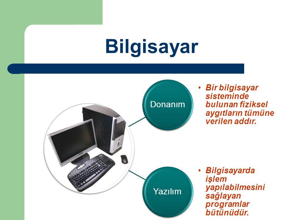 Bilgisayar Donanım Bir bilgisayar sisteminde bulunan fiziksel aygıtların tümüne verilen addır. Yazılım Bilgisayarda işlem yapılabilmesini sağlayan pro